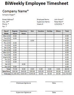 bi weekly timesheet template