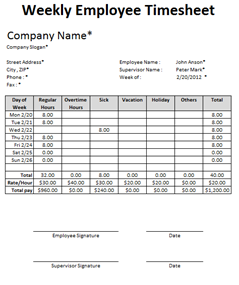 weekly time sheet template excel