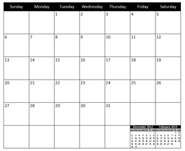 Download Free Excel Calendar Template