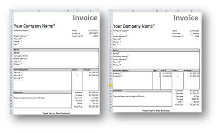 Free Excel Invoice Template - Templates for invoices free excel