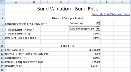 Bond yield to maturity calculator