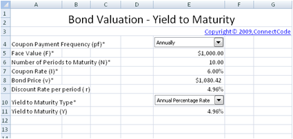 Free Bond Valuation - Yield to Maturity spreadsheet