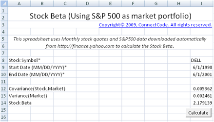 Second And More Importantly It Calculates The Beta By Automatically Ing Stock Quotes S P 500 Data From Https Finance Yahoo