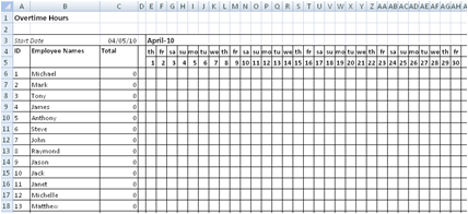 work time sheet excel