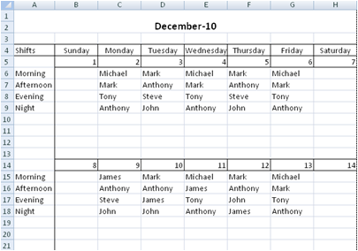 Free Employee Shift Scheduling Spreadsheet