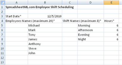start date the start date of the shift schedule a monthly calendar will be generated in the shift assignments worksheet based on this date employees