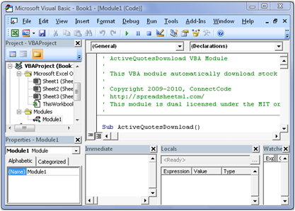 Open Source VBA Macro for Stock Quotes Download from Yahoo Finance